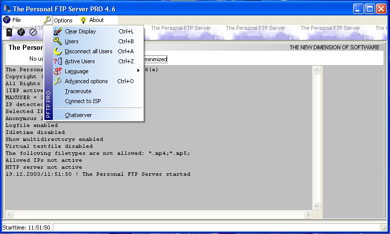 The Personal FTP Server Screen shot